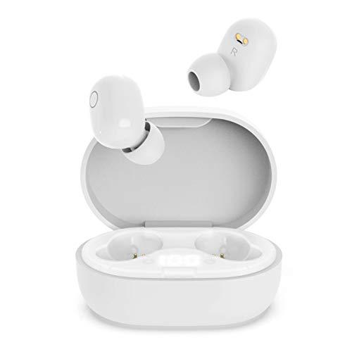 Auriculares Inalambricos, QueenDer Auriculares Bluetooth Deep Bass Estéreo Mini Twins In Ear con Micrófono Cancelación de Ruido, Type C, Pantalla LED Cascos Auriculares para iOS Android