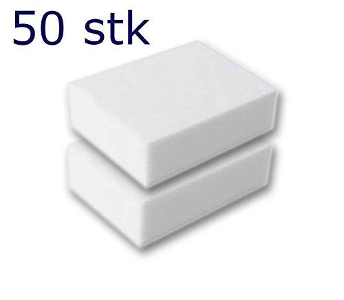 50 Stück Reinigungsschwamm, Radierschwamm, Schmutzradierer, Wunderschwamm je 10x7x3 cm WEISS