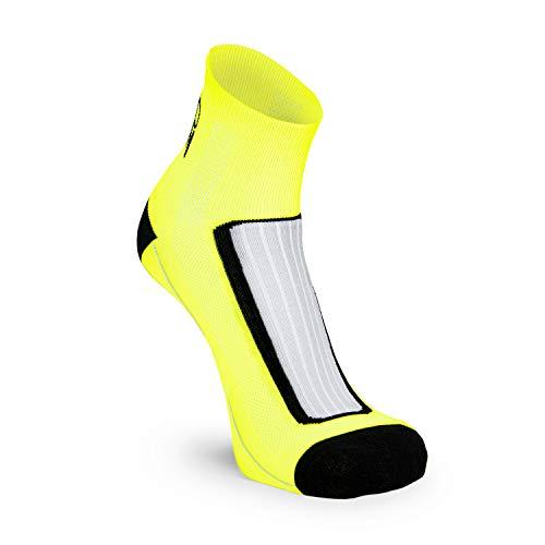 Nordhorn Quarter Pro - Calcetines deportivos para hombre y mujer, transpirables para correr, correr, fitness, ciclismo y crossfit, Primavera-verano 20., Hombre, color amarillo, tamaño 40-42