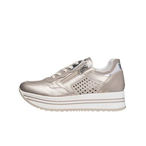 Nero Giardini E010563D Sneakers Donna in Pelle, Camoscio E Tela - Rosa Antico 40 EU