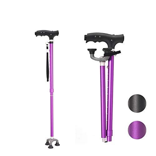 BeneCane Walking Cane Adjustable Cane Flexible Walking Cane - with The LED Light Lightweight Sturdy Portable Walking Stick - Balancing Mobility Aid for Men Women Seniors Comfortable Handle(Purple)