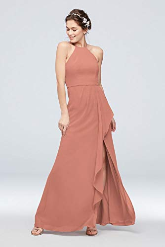 High-Neck Chiffon Bridesmaid Dress with Cascade Style F20014, Desert Coral, 2