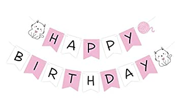 Pre-Strung Cat Birthday Banner Ready to Hang Kitty Happy Birthday Sign Kitten Pink White Bday Bunting