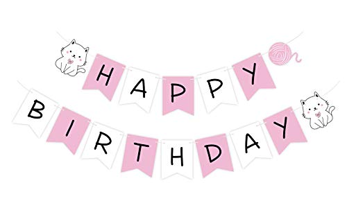 Pre-Strung Cat Birthday Banner, Ready to Hang Kitty Happy Birthday Sign, Kitten Pink White Bday Bunting