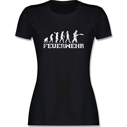 Feuerwehr - Evolution Feuerwehr Frau Vintage - L - Schwarz - Feuerwehrfrau - L191 - Tailliertes Tshirt für Damen und Frauen T-Shirt