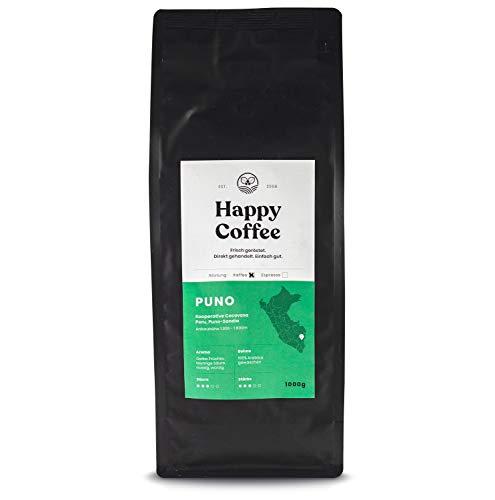 HAPPY COFFEE Puno Filterkaffee Bohnen - Frisch geröstet - ganze Bohne - Premium Bio-Kaffee aus Peru für Filtermaschinen und Vollautomat (1 KG)
