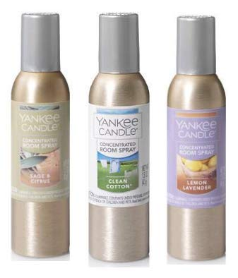 Yankee Candle Concentrated Room Spray 1.5 Oz (Pack of 3). Sage & Citrus, Clean Cotton & Lemon Lavender.