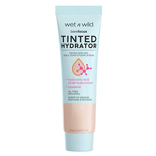 wet n wild Bare Focus Tinted Hydrator Tinted Skin Veil, Nourishing Foundation, Hyaluronic Acid, Fair