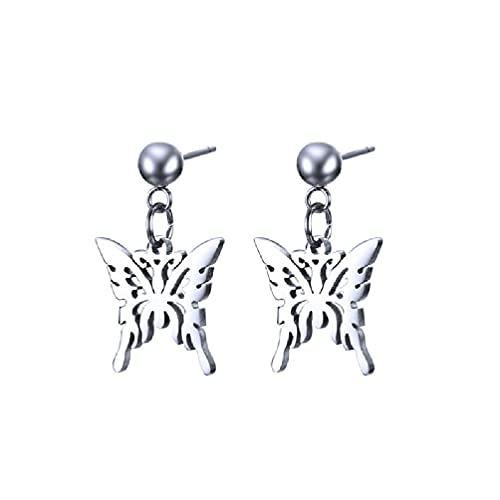 KunmniZ Wehgeg Punk Butterfly Collar con Colgante de Acero Inoxidable Pendientes Joyería de Moda Pendientes Unisex Acero Inoxidable