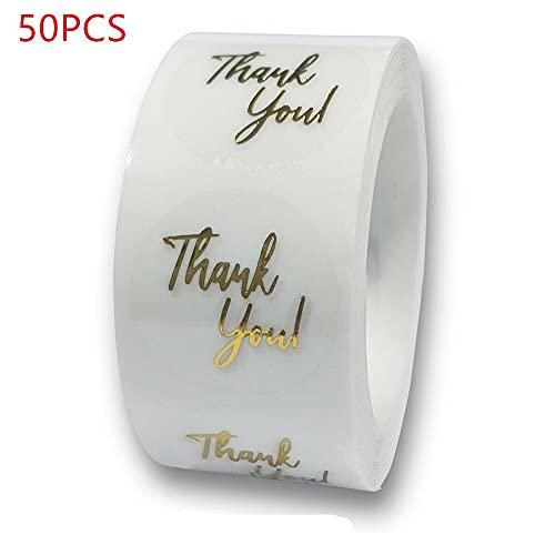 PMSMT 50-500 Uds.Etiquetas de 1 Pulgada de lámina de Oro Transparente, Pegatinas de Agradecimiento para Boda, Bonitas Tarjetas de Regalo, Etiquetas Adhesivas de Sellado de Sobres