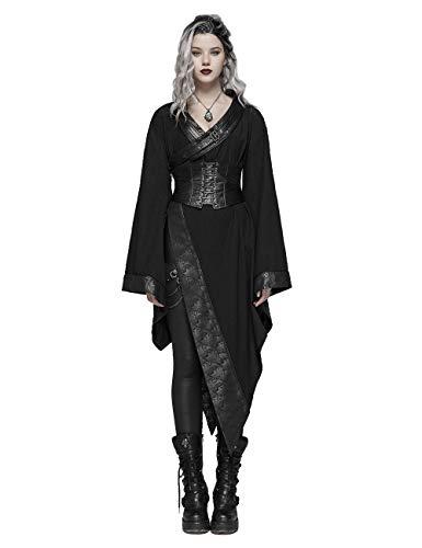 Punk Rave dunkel Gothic Asymmetrisch Cosplay Jacke Kleid Damen Mädchen Lolita Kimono Robe Kleid XS-S