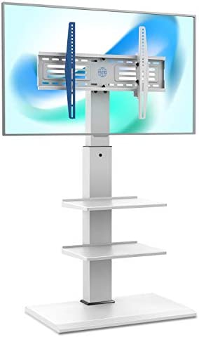 FITUEYES Swivel Floor TV Stand Base for TVs Up to 65 TVs White Corner TV Stand with Height Adjustable product image