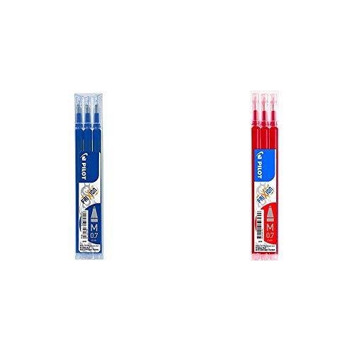 Pilot BLS-FR7-L-S3 - Recambio Frixion, color azul, paquete de 3 unidades + Pilot - Set de 3 Recambios para Frixion Ball y Clicker, punto medio - Rojo