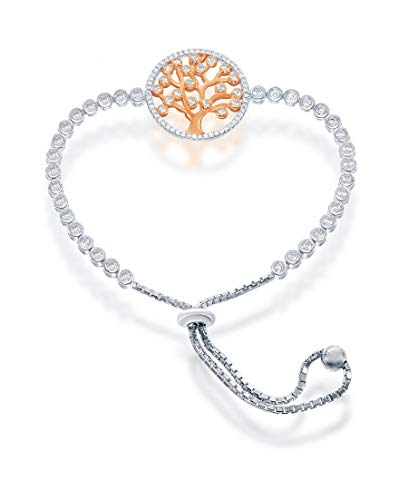 Silver Roots Rose Gold-plated Sterling Silver Adjustable Tree of Life Clear CZ Bolo Bracelet