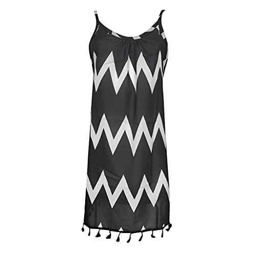 NAQUSHA Vestido maxi sexy de verano para mujer, vestido de algodón sin mangas de la borla de la impresión del patrón de la onda