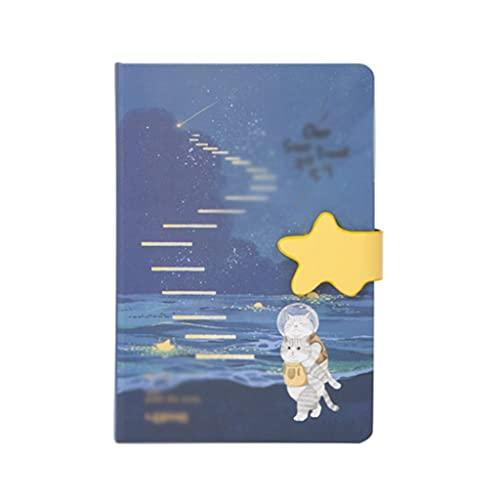 ZAZA Cuaderno Diario Planeta Cuaderno Travel Diario Portátil Página De Color Multifuncional Página Literario Cat Bloc De Notas Ledger (128 Hojas) Cuadernos para Mujeres (Color : D)