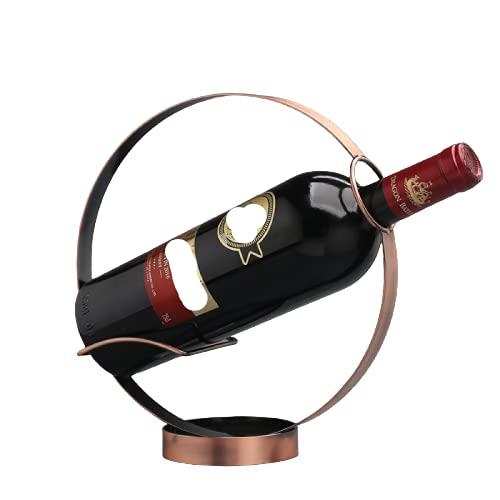 ZYDX Botellero Redondo de Hierro Forjado, Estante del Vino de La Exhibición del Vino del Hierro Labrado del Almacenamiento del Vino del Contador,Bronze