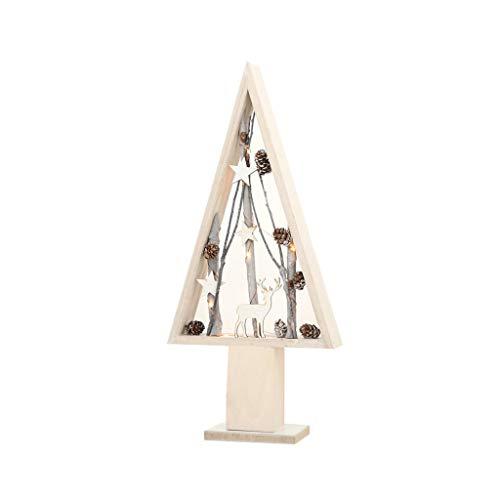Adornos navideños Decoración de Navidad LED, luz LED 50cm del Ornamento del árbol de Navidad de Madera Decoración Drive Batería Adornos navideños