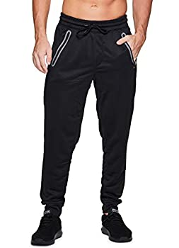 RBX Active Men s French Terry Athletic Tapered Jogger Sweatpants with Zipper Pockets French Terry Black L