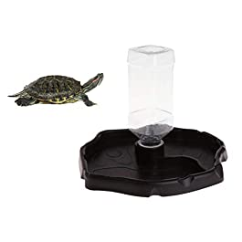 POPETPOP Reptile Water Dispenser-Reptile Waterer Automatic Refilling Water Dispenser Tortoise Lizard Turtle Feeding Water Bowl with Bottle