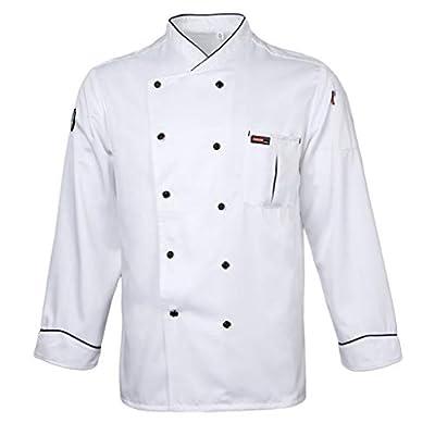 Prettyia Men Women Piping Chef Jacket Coat Uniform Long Sleeve Hotel Kitchen Apparel Tops