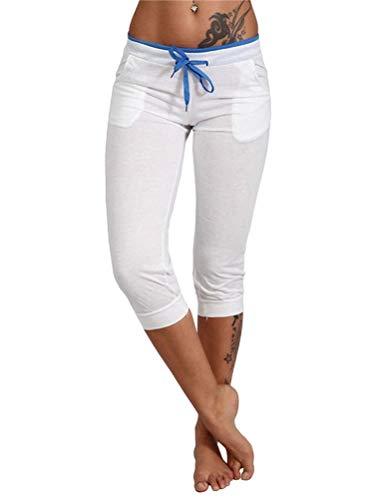Onsoyours Pantalones capri 3/4 para mujer, pantalones cortos elásticos, tallas grandes, color sólido, pantalones de yoga casuales con cordón