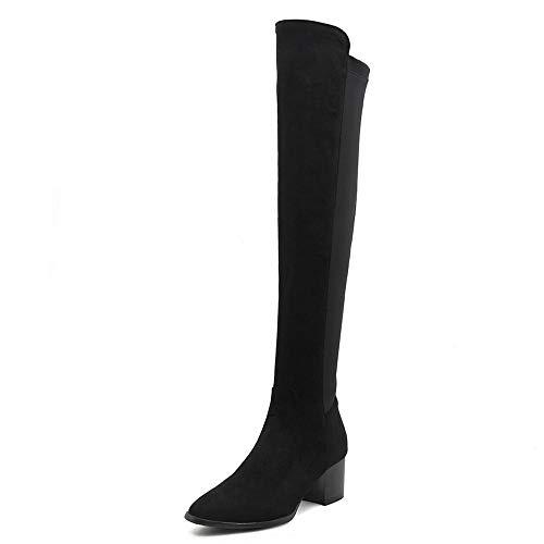 SHZSMHD stretch laarzen hoge hakken puntige teen massief zwart dij hoge lange laarzen grote ColorSize over de knie laarzen dames schoeisel