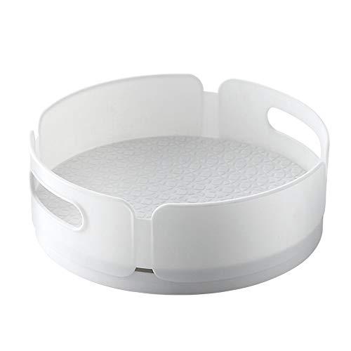 ZYYX 360 ° Bandeja Especiero Giratorio con Asas, Organizador para Armario Cocina Baño Frigorífico, Soporte De Condimentos De Plástico, 30cm, Blanco