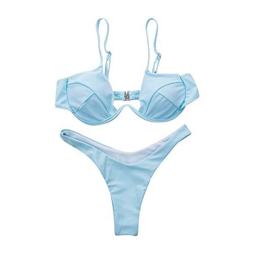 Hanruo, costume da bagno sexy push up brasiliano da donna con fasciatura, costume da bagno (colore:...