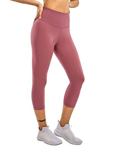 CRZ YOGA Mallas Leggins de Mujer, para Yoga y Ejercicio, de Cintura Alta con Bolsillo- 43cm Misty Merlot 40