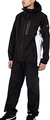 namelessage(ネームレスエイジ) アウトドア レインウェア 上下セット メンズ レディース ストレッチ 防風 撥水 NASR-100 ブラック×ホワイト 4L レインスーツ レインコート カッパ ゴルフ 釣り 男性用 女性用