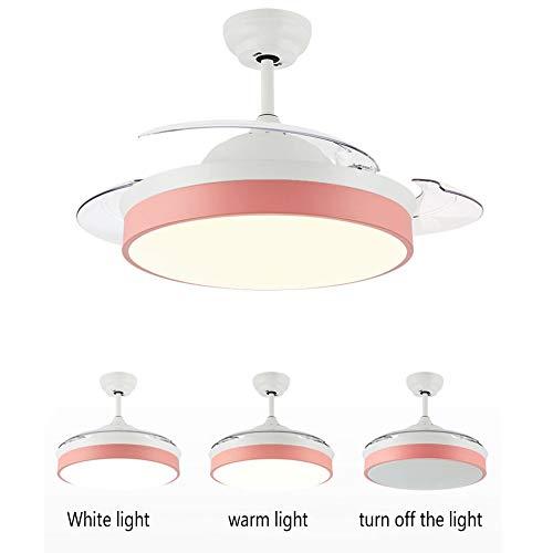 Ventilador Techo Luz, 42 Pulgadas / Lámpara Techo 40W LED Atenuación Con Mando A Distancia, PC Retráctil Paleta Ventilador Silencioso Lámpara Ventilador, Para Home Living Oficina Dormitorio,Rosado