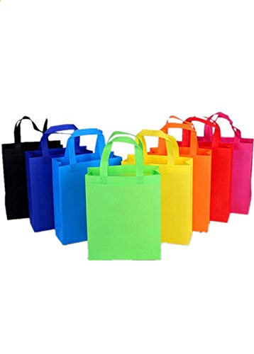 Ototon Einkaufstasche, wiederverwendbar, aus Vliesstoff, faltbar, mit Griff, bunt, für Shopping, Obst, Gemüse, 10 Stück