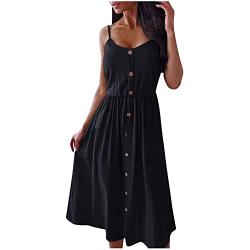 Damen Kleid Sommer Freizeit Kleider, Ärmelloses Rückenfrei A Linie Sling Kleid Knopfkleid Langrock aus Baumwolle und Leinen mit langem Rock, Elegantes Kleid mit langem Rock im Boho-Stil