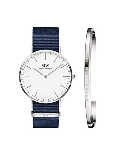 Daniel Wellington DW00500272 Classic Bayswater 40mm Silver & Classic Cuff Silver. Watch & Cuff Combo Analog Watch  – For Men
