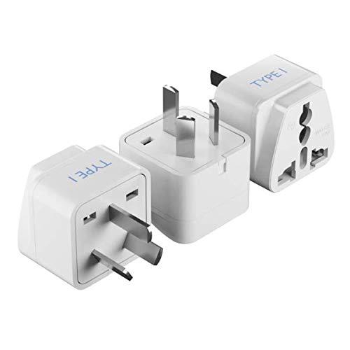 Ceptics Australia, China, New Zealand Travel Plug Adapter (Type I) - 3 Pack [Grounded & Universal] (GP-16-3PK)