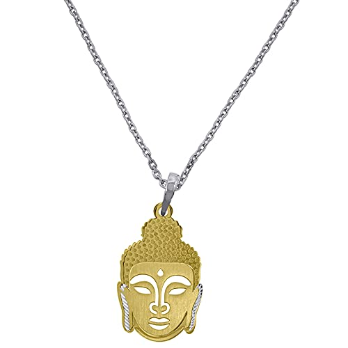 Collar de plata de ley 925, tono amarillo, para mujer, con eslabones Rolo, Buda, regalo para mujer