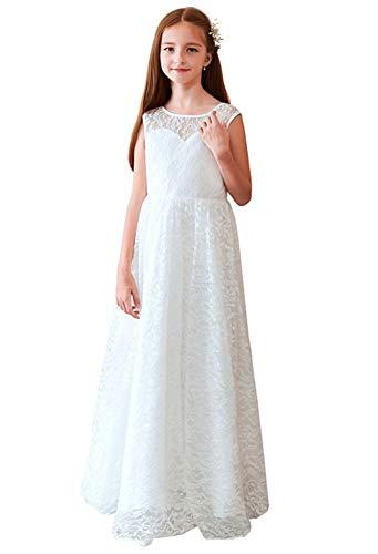 Ikerenwedding Lace Flower Girl Wedding Dress Gorgeous Princess Gown Ivory Size 5