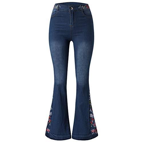 FRAUIT dames flared jeans bloem borduurwerk jeanbroek denim casual opladen snit jeans broek mode elegant prachtig streetwear slijtvast geen vervorming XS-4XL