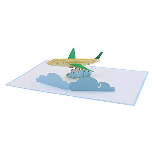 "Pop Up Gift Card 3D Airplane Flying in Clouds. Each Card Donates a Tree to Support Reforestation with Pop-Up Forest. 5.2"" x 7"" with Envelope"