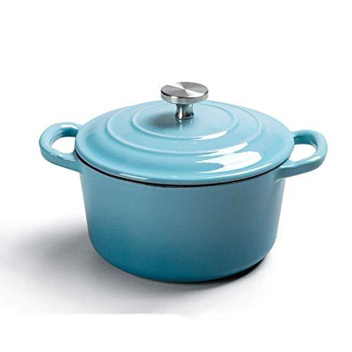 POETRY Faitout en Fonte émaillée avec Couvercle Casserole Casserole antiadhésive, 1,2 L, pour Cuisson à la Vapeur Braise Cuire au Gril Saute Mijoter Rôti, Bleu