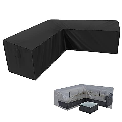 SIRUITON Funda para Sofá en Forma de L 420D Oxford Impermeable Funda Sofa Esquinero en Forma de L con Cuerdas de apriete en la Parte Inferior (270*270*87CM)