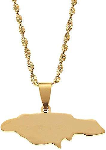 WYDSFWL Collares Collar de Moda de Acero Inoxidable con Tarjeta de Jamaica Collares Pendientes Corazón Cadena de Tarjeta de Jamaica Joyería de Regalo
