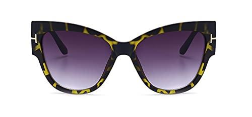 ShSnnwrl Gafas de Sol de Moda Gafas de Sol Mujer Diseñador de Lujo T Moda Ojo de Gato Negro Gafas de Sol de Gran tamaño Gafas de Sol gradiente para Mujer