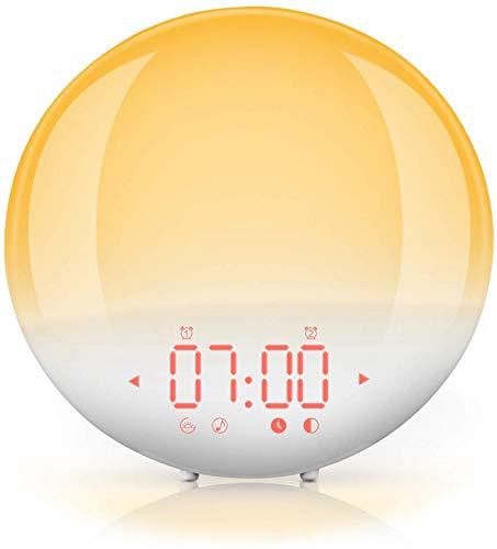 Pictek Radiowecker Morgenmuster, beleuchteter Wecker mit Simulation des Sonnenaufgangs, Wecker Licht mit 6 natürlichen Geräuschen, 20 Helligkeitsstufen für Nachtlicht