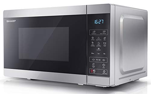 Sharp YC-MS02U-S 800 W Digital Solo Microwave Oven with 20 Litre Capacity, 11 Power Levels and 8 Cooking Programmes – Silver