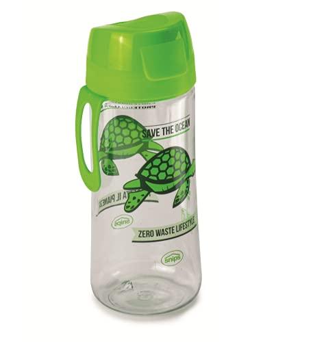 Snips Bottiglia in Tritan 0,50 LT-Trasparente con Decoro Tartaruga, Verde, 7.1 cm