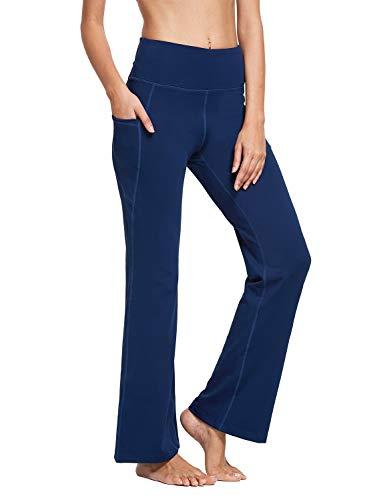 BALEAF Damen Bootcut Yoga Hose mit Seitentasche Hoch Teile Flare Yogahose Sporthose Dunkelblau S