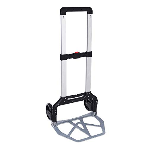 KingSo 330-lb Folding Hand Truck Heavy Duty Capacity Portable Aluminum Alloy Cart and Dolly for Luggage Travel Office Auto Moving, PVC Wheels with Double Bearings and Adjustable Handle