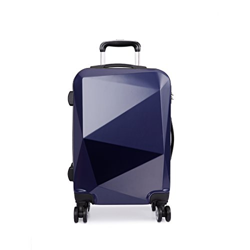 Kono 20' Hand Luggage Travel Trolley Case Hard Shell PC Light Weight Suitcase with 4 Spinner Wheel Fashion Diamond Design Luggage for Business Holiday Carry-on 57cm (20' Navy)